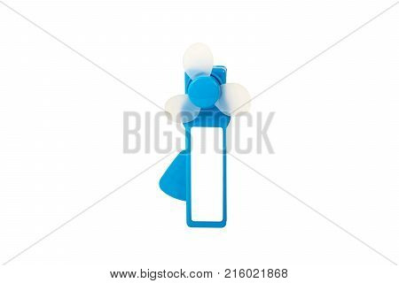 isolated blue mini pocket fan in different angles on white background