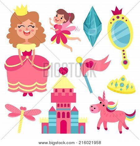 Fairy tale set, collection with accessories for a little princess or fairy vector Illustrations on a white background