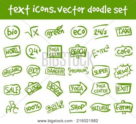 Vector doodle text icons set. Stock cartoon signs for design.