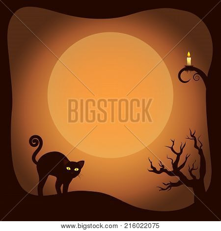 Halloween postcard template with leafless trees, glowing candle and scared cat. Vector illustration with yellow moon on background