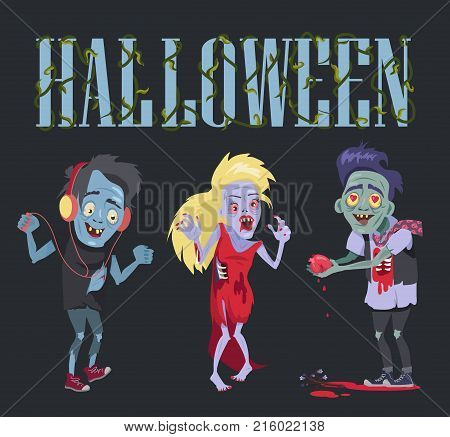 Halloween funny poster representing zombie that fell in love, angry undead woman and smiling walker with headphones on vector illustration
