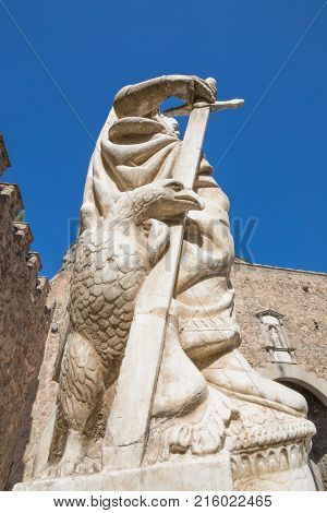 Ancient Statue Of Carlos V Inside Bisagra Gate In Toledo City