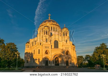 Petersburg, Russia - June 29, 2017: Nikolsky Sea Cathedral In Kronshtadt Is The Main Church Of The R