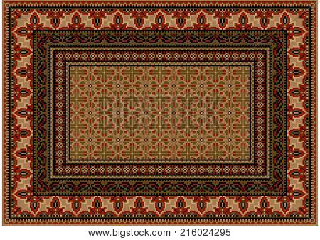 Luxurious colourful old design carpet with ethnic ornament with red patterns to border in light brown shades