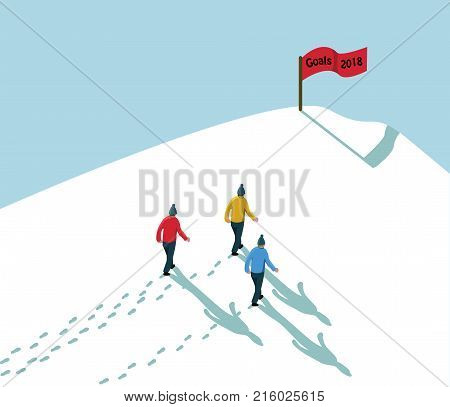 Goal 2018 Concept Achieve Reach The Target- Three Men Walking In Snow Up To Hill With Red Flag Sign