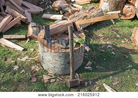 Tools for chopping trees. old rusty axe wedges and sledgehammer. Tools for chopping trees. Pile of firewood