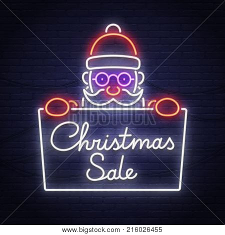 Santa claus neon sign. Christmas Sale neon sign. Merry Christmas and Happy New Year banner, logo, emblem and label. Bright signboard, light banner.