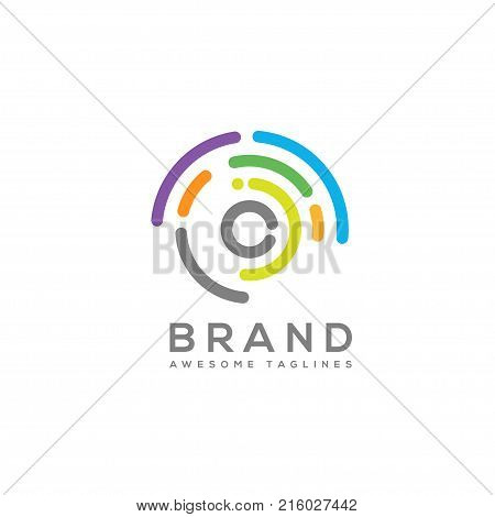 Abstract technology circles, geometric logo vector illustration,circle color line tech logo concept