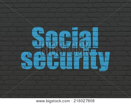 Safety concept: Painted blue text Social Security on Black Brick wall background