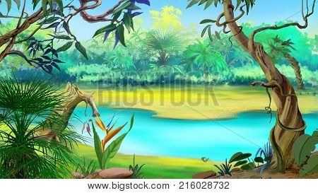 Small River in the Rainforest in a sunny day. Digital Painting Background Illustration in cartoon style