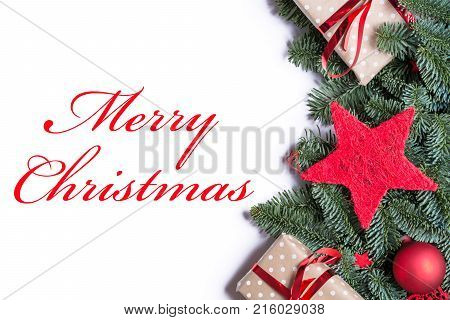 Merry Christmas In Red On A Christmas Background Border On The Right Side With Fir Branches And Othe
