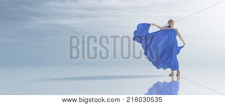 Young woman in blue dress on the seashore tropical. This is a 3d render illustration