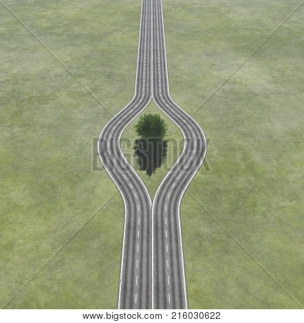 In front of a bifurcation with a tree in the middle of the road - Which path?. This is a 3d render illustration