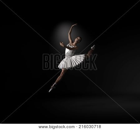 Young and beautiful ballerina with white tutu on black background. This is a 3d render illustration