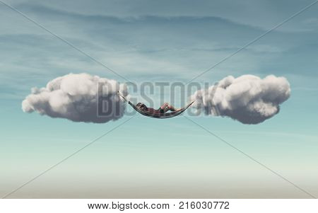 Young man relaxes in a hammock between two clouds. This is a 3d render illustration