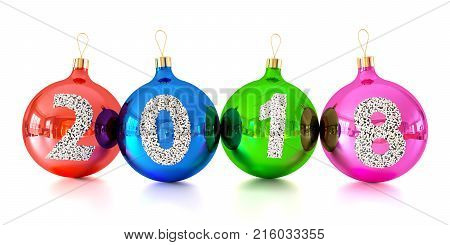 Christmas Decorations Glass Balls With Numbers 2018