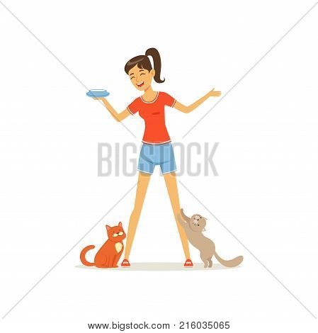Cheerful girl feed kittens milk. Young woman caring of her pets. Female character in red t-shirt and blue shorts. Human and animal friendship. Domestic animal. Flat vector design isolated on white.
