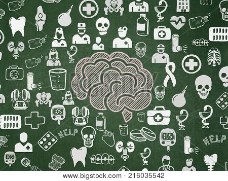 Healthcare concept: Chalk Pink Brain icon on School board background with  Hand Drawn Medicine Icons, School Board