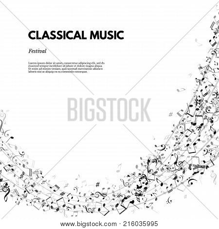 Classical music festival poster or banner template. Vector Classical Music festival text on stave background