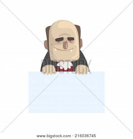 Illustration of funny vampire with blank sheet of paper in hands. Cartoon count Dracula character with big teeth, red eyes and bald head. Pale man in Halloween costume. Flat vector isolated on white.
