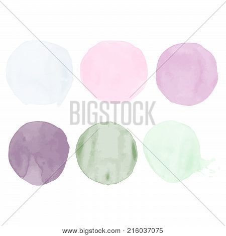 Set of watercolor shapes. Watercolors blobs. Set of colorful watercolor hand painted circle isolated on white. Illustration for artistic design. Round stains, blobs of blue, pink, green, gray color