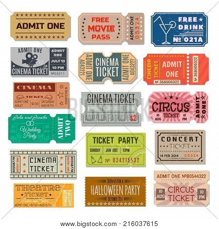 Event ticket collection. Paper, cardboard certificate, right of admission to a place of assembly, cinema, party, theatre. Vector flat style cartoon illustration isolated on white background