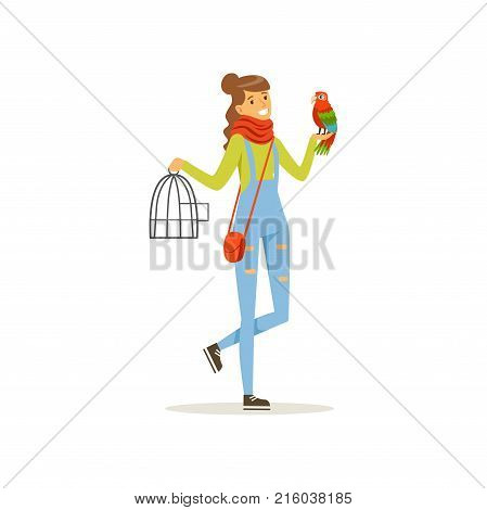 Cheerful girl holding iron cage, macaw parrot sitting on her hand. Full length portrait of young woman with colorful bird. Best friends concept. Domestic animal. Isolated flat design