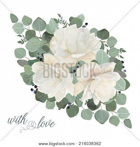 Floral card vector Design: garden white creamy peony Rose flower silver Eucalyptus thyme green leaves elegant greenery blue berry bouquet print element. Rustic wedding editable invite template