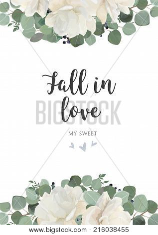 Floral card vector Design: garden white creamy peony Rose flower silver Eucalyptus thyme green leaves elegant greenery blue berry bouquet print element. Rustic wedding invitation template