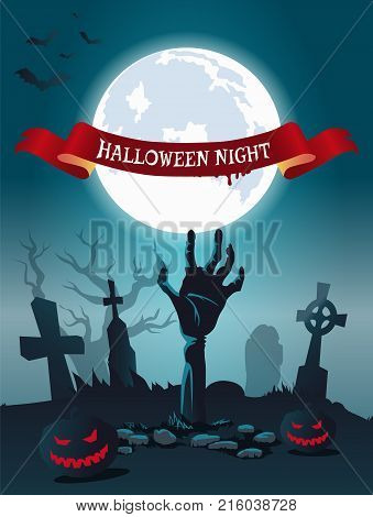 Halloween night scary poster with bats flying over foggy graveyard. Vector illustration with zombie surrounded by glowing pumpkins