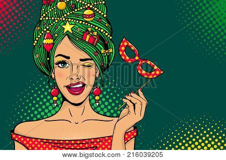 Wow pop art Christmas face. Young sexy surprised woman with open mouth New Year tree on head carnival mask in hand winks. Vector bright illustration in retro comic style. Holiday party invitation.