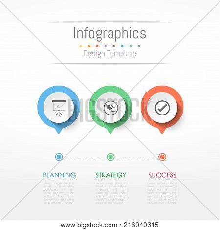 Infographic design elements for your business data with 3 options parts steps timelines or processes. Vector Illustration.