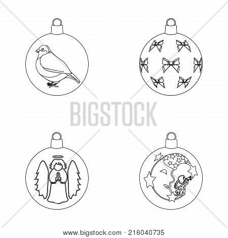 New Year s Toys outline icons in set collection for design.Christmas balls for a treevector symbol stock illustration.