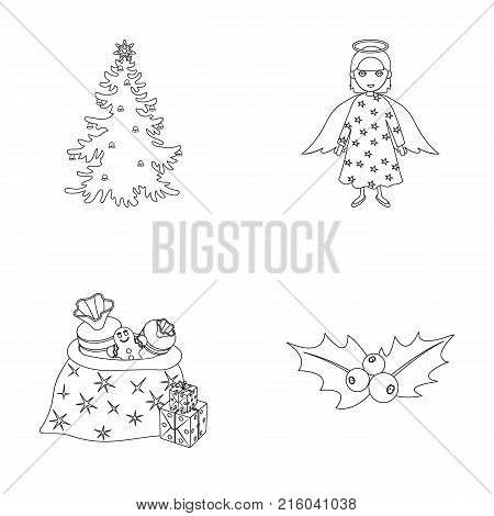 Christmas tree, angel, gifts and holly outline icons in set collection for design. Christmas vector symbol stock  illustration.