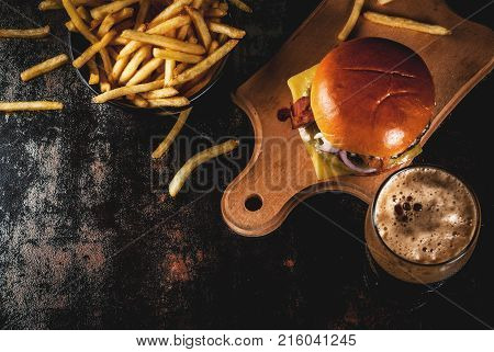 Meat Burger And Ginger Beer