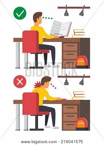 Neck pain, student studying syndrome. Correct Incorrect sitting posture. Boy sitting at desk infographic. Vector illustration.