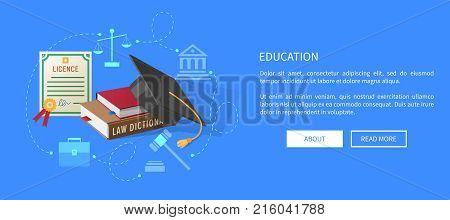Education web banner with lawyers licence, books on law and academic hat vector. Old scales, judges hammer, ancient building and classic briefcase silhouettes.