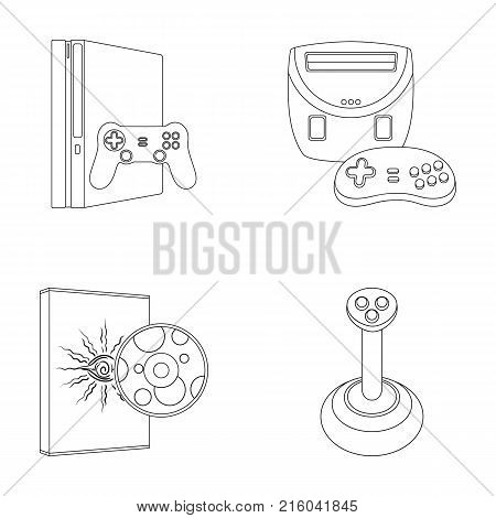 Game console, joystick and disc outline icons in set collection for design.Game Gadgets vector symbol stock  illustration.