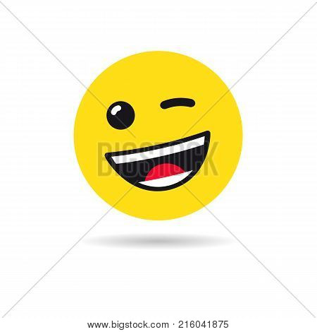 Wink emoticon or emoji symbol. Winking yellow smiley in a flat design on white background. Vector emoticon icon