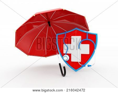 Shield with stethoscope wrapped round it medical healthcare concept,  Antibacterial or anti virus shield, health protect concept. 3D rendering