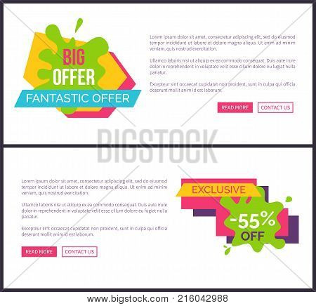 Big offer fantastic, webpage with lettering written on green blot and shape, ribbon and sample text, exclusive -55 off vector illustration web poster