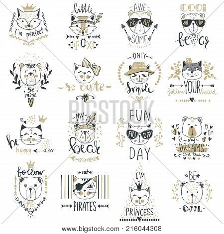 Big Vector collection with  cute animals. Set with teddy bears, cats, fox. Trendy design in sketch style  t-shirt print, cards, poster. Doodle kids series Funny characters. Cartoon art.