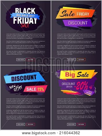 Big sale 2017 Black Friday discounts new offer advert web banners set with text on geometric abstract figures isolated on dark vector illustrations