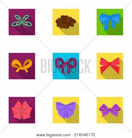 Decor, bows, node, and other  icon in flat style.Bow, ribbon, decoration icons in set collection