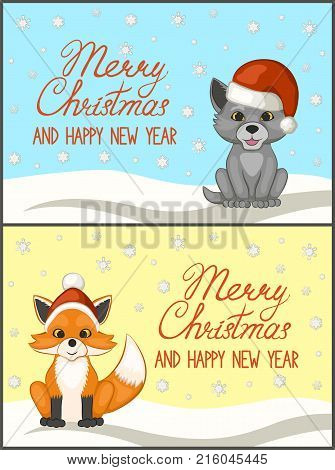 Merry Christmas and happy new year. A set of greeting cards, posters. Cute cub wolf and Fox in a red Santa Claus hat. The cartoon style. Vector illustration.