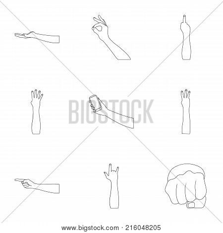 Significance of gestures outline icons in set collection for design.The tongue of deaf mutes vector symbol stock  illustration.