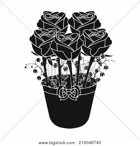 A bouquet of fresh flowers single icon in black style for design. Bouquet vector symbol stock illustration .