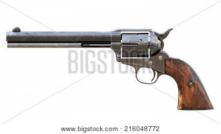 Vintage six shot revolver isolated. 3D render