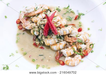 spicy garlic and wine prawns modern fusion gourmet food cuisine meal