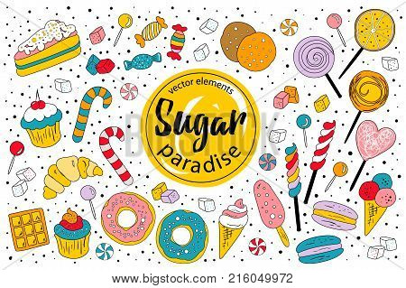 Sugar paradise. A cute set of sweet graphic elements - candies, lollipops, icecreams, macaroons, biscuits, cake, croissant - perfect for candy lovers!